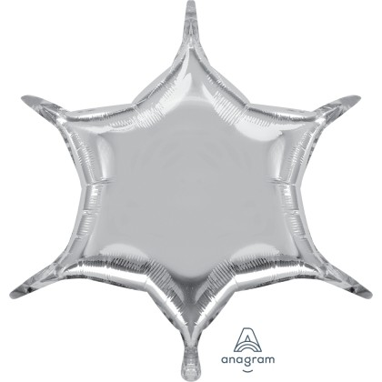"""S55 22"""" Silver 6-Point Star"""