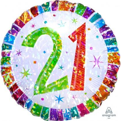"S55 17"" Radiant Birthday 21 Standard Holographic"