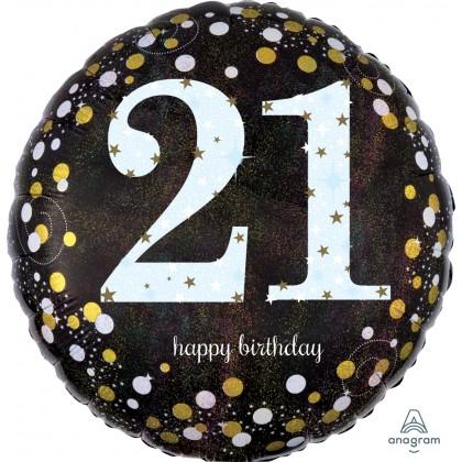 "S55 17"" Sparkling Birthday 21 Standard Holographic"