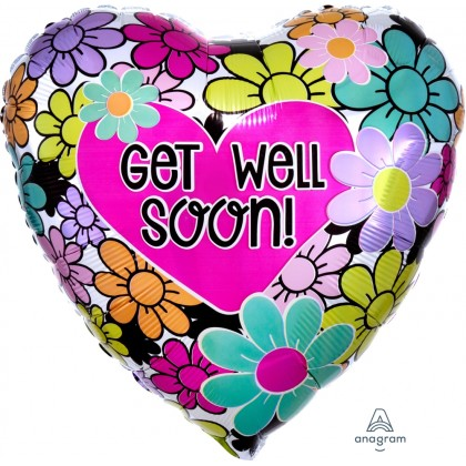 """S40 17"""" Graphic Floral Get Well Soon Standard HX®"""