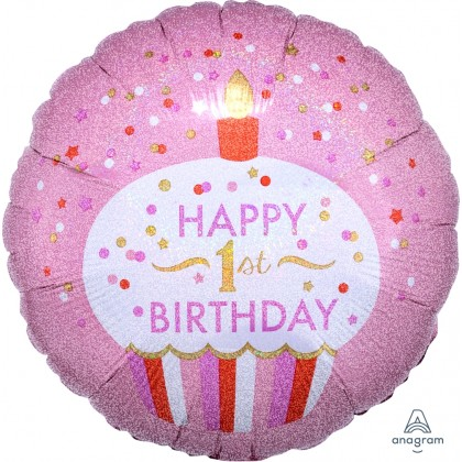 "S55 17"" 1st Birthday Cupcake Girl Standard Holographic"