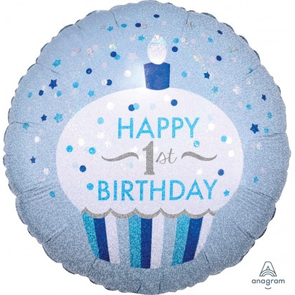 "S55 17"" 1st Birthday Cupcake Boy Standard Holographic"