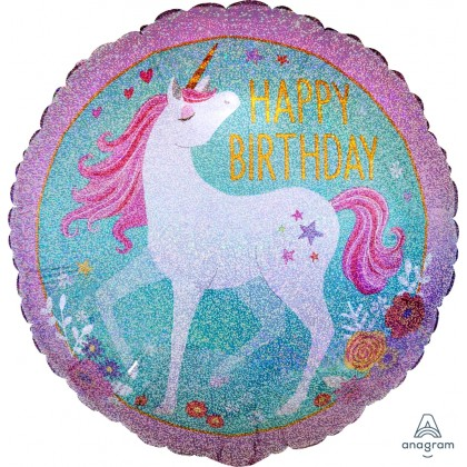 "S55 17"" Magical Unicorn Happy Birthday  Standard Holographic"