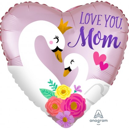 """S40 18"""" Satin Infused Love You Mom Swans Standard Satin XL®"""