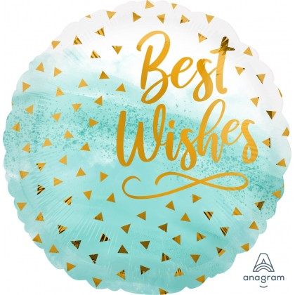"S40 17"" Best Wishes Gold Confetti Standard HX®"