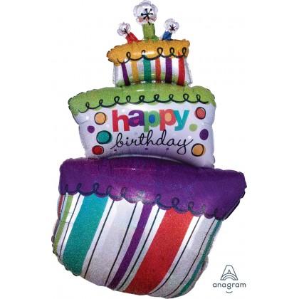 "P40 37"" Funky Birthday Cake Holographic SuperShape™"