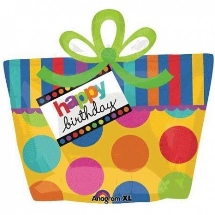 "P35 23"" Happy Birthday Present Box SuperShape™ XL®"