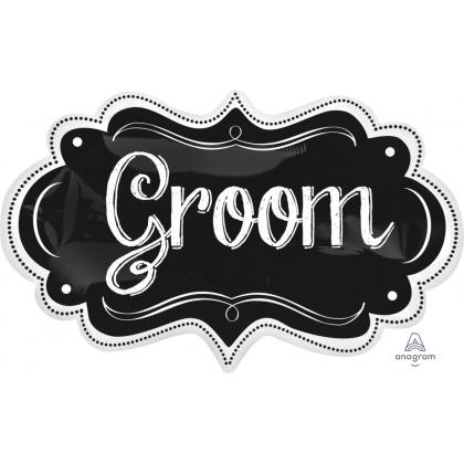 """P35 27"""" Groom Chalkboard Marquee SuperShape™"""