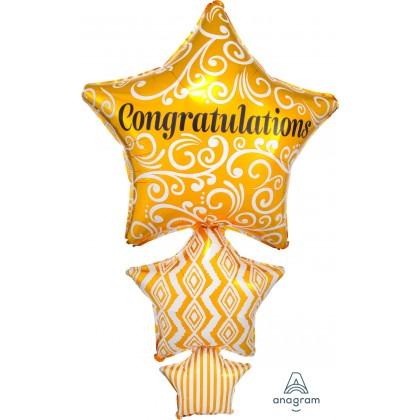 "P35 25"" Congratulations Stacked Star SuperShape™"