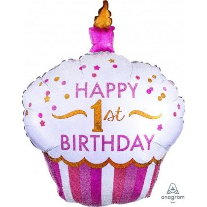 "P40 36"" 1st Birthday Cupcake Girl Holographic SuperShape™"