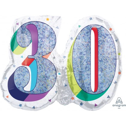 """P40 26"""" Here's To Your Birthday 30 HoloGraphic SuperShape™"""