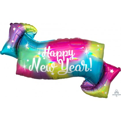"P40 28"" Iridescent HNY Banner Holographic SuperShape™"