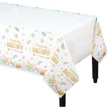 BOHO Birthday Girl Plastic Table Cover