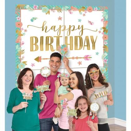 BOHO Birthday Girl Scene Setters w/Props - Paper
