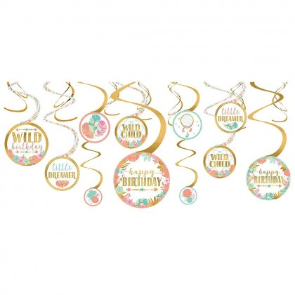 BOHO Birthday Girl Value Pack Spiral Decorations