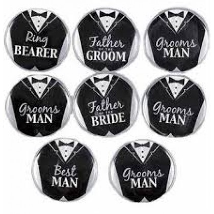 Bridal Party Buttons - Groom Metal