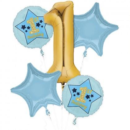 P75 Boy 1st Birthday Blue & Gold Bouquet