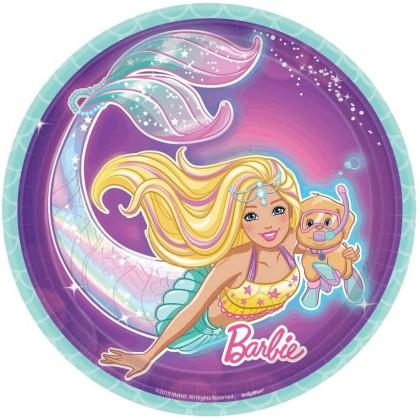 Barbie Mermaid Round Iridescent Plates, 7 in