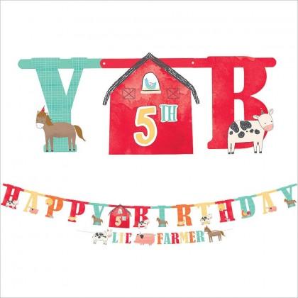 Barnyard Birthday Personalized Jumbo Letter Banner Kit