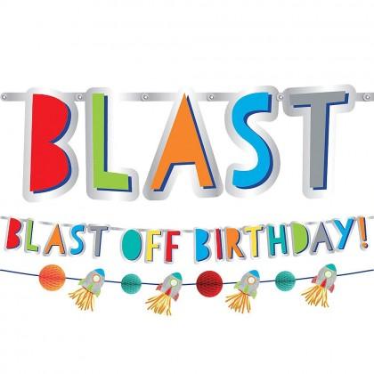 Blast Off Birthday Banner Kit - Paper