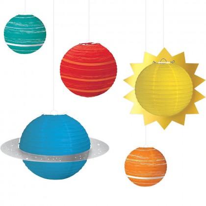 Blast Off Birthday Planet Lanterns - Paper w/Metal Frames