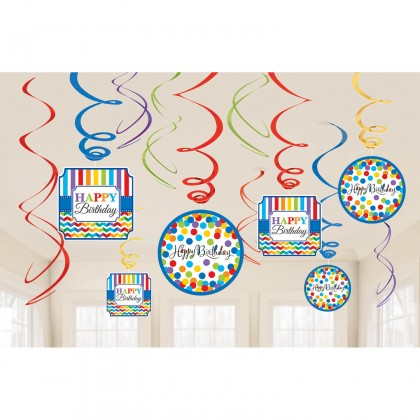 Bright Birthday Value Pack Foil Swirl Decorations