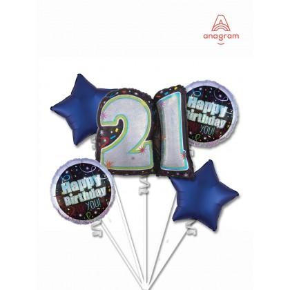 Brilliance 21st Birthday Balloon Bouquet