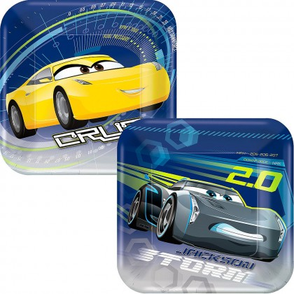 Disney Pixar Cars 3 Square Plates Asst 7in