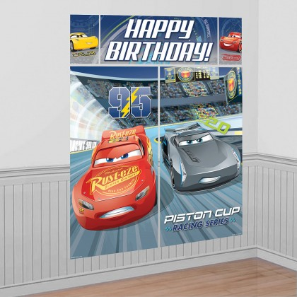 Disney Pixar Cars 3 Scene Setters Wall Decorating Kit Plastic