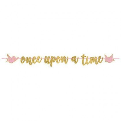 ©Disney Princess Once Upon A Time Ribbon Banner w/ Glitter Paper Letters