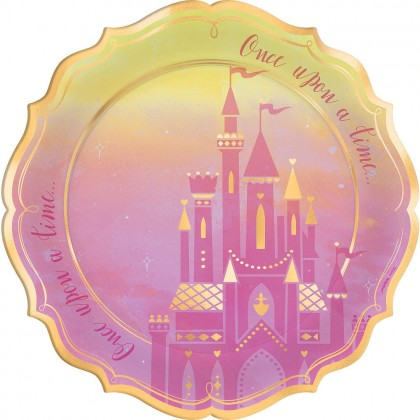 Disney Princess Once Upon A Time Shaped Metallic Plates, 10.5  in