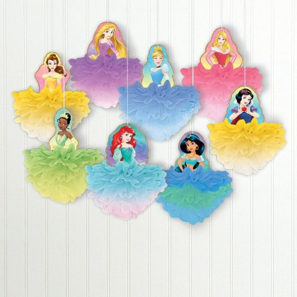 ©Disney Princess Once Upon A Time Deluxe Fluffy Decorations - Paper w/Glitter & Ribbon