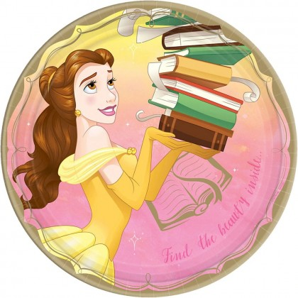 ©Disney Princess Once Upon A Time Round Plates, 9 in - Belle