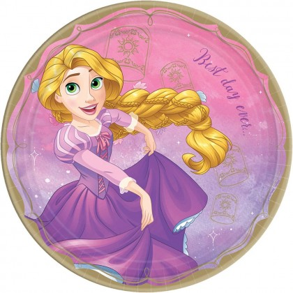 ©Disney Princess Once Upon A Time Round Plates, 9 in - Rapunzel
