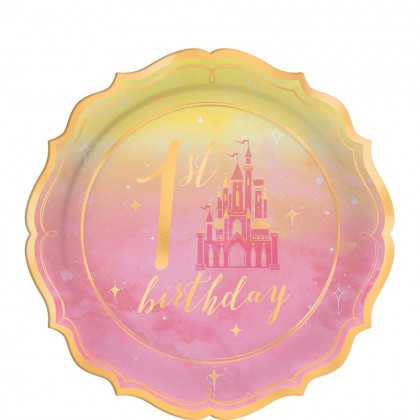 ©Disney Princess Once Upon A Time Shaped Metallic Plates 7 in 1st Birthday