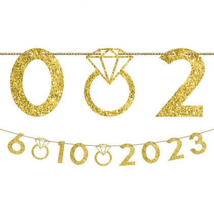Customizable Number Banner Gold Glitter Paper