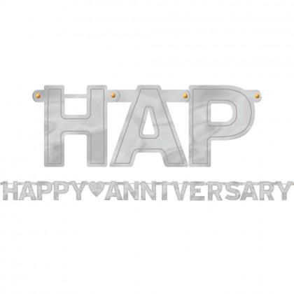 Happy Anniversary Foil Letter Banner Silver