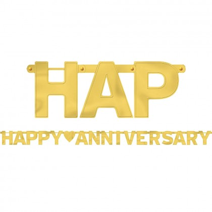 Happy Anniversary Foil Letter Banner - Gold
