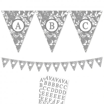 Personalizable Pennant Banner Elegant Scroll Silver