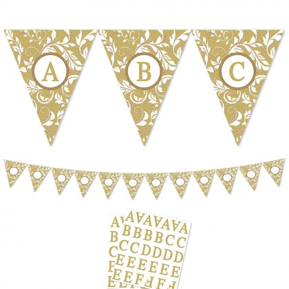 Personalizable Pennant Banner Elegant Scroll   Gold