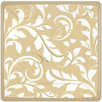 Elegant Scroll Gold Square Metallic Plate 7 in