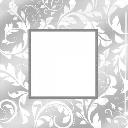 Elegant Scroll Square Metallic Plates 10 in