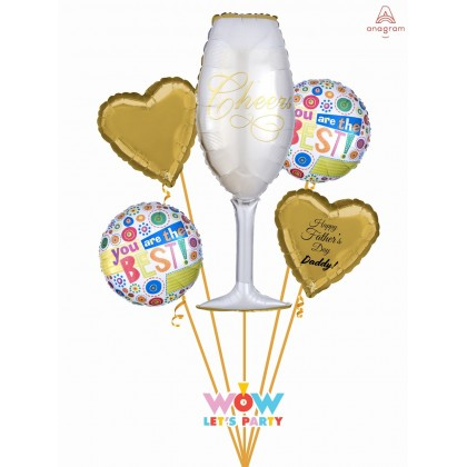 Father's Day Champange Glass Balloon Bouquet