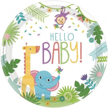 Fisher-Price Hello Baby Round Plates, 10.5 in