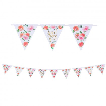 Floral Baby Pennant Banner Ribbon & Paper