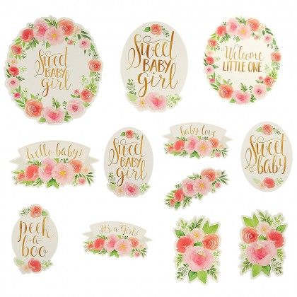 Floral Baby Cutouts Paper