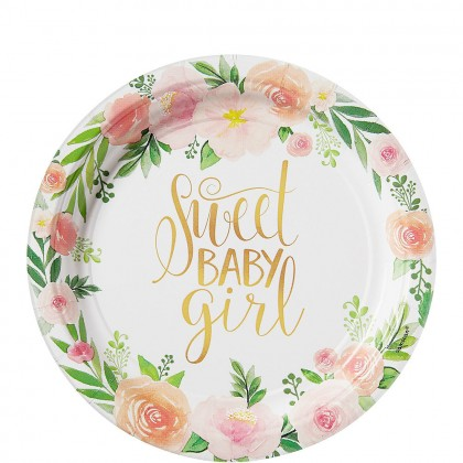 Floral Baby Round Plates 7 in