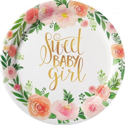 Floral Baby Round Plates 10 1/2 in