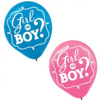 Girl or Boy Ptd. Latex Balloons - Asst. Colors