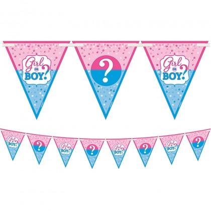 Girl or Boy Pennant Banner - Paper & Ribbon